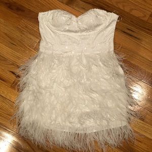 White Bebe Sequin and Feathered Dress